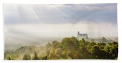 Beach Towel featuring the photograph Bobolice Castle In The Morning Haze by Dmytro Korol