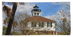 Beach Towel featuring the photograph Boca Grande Lighthouse View Two by Rosalie Scanlon