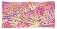 Beach Towel featuring the digital art Bodacious Ferns Gold by Karen Dyson