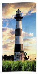 Beach Towel featuring the painting Bodie Island Lighthouse by Christopher Arndt