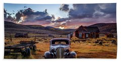 Bodie's 1937 Chevy At Sunset Beach Towel