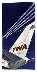 Boeing 707 Trans World Airlines C. 1960 Beach Towel