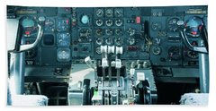 Boeing 747 Cockpit 23 Beach Towel