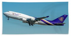 Boeing B747-400 Thai Airline Departed From Milano Malpensa Airport Beach Towel