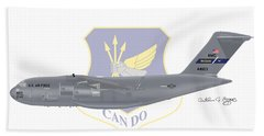 Beach Towel featuring the digital art Boeing C-17 Globemaster IIi Mcguire Afb by Arthur Eggers