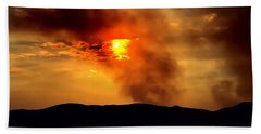 Beach Sheet featuring the photograph Bogart Fire Sunset by Chris Tarpening