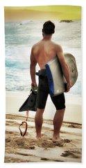 Boggie Boarder At Waimea Bay Beach Towel