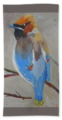 Beach Sheet featuring the painting Bohemian Wax Wing by Francine Frank