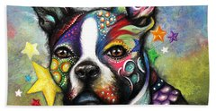 Beach Towel featuring the pastel Boston Terrier by Patricia Lintner