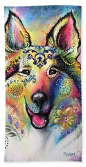 Beach Towel featuring the pastel Collie by Patricia Lintner