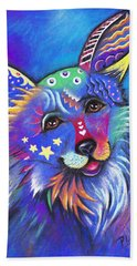 Beach Towel featuring the drawing Corgi by Patricia Lintner