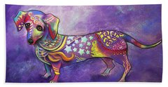 Beach Towel featuring the drawing Dachshund by Patricia Lintner