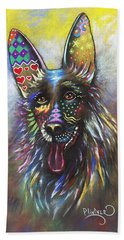 Beach Towel featuring the mixed media German Shepherd by Patricia Lintner