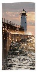 Bokeh On Lake Michigan Beach Towel