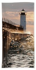 Bokeh On Lake Michigan Beach Towel