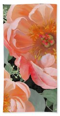Beach Towel featuring the painting Bold Peony Seeded Eucalyptus Leaves by Audrey Jeanne Roberts