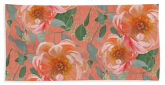 Beach Towel featuring the painting Bold Peony Seeded Eucalyptus Leaves Repeat Pattern by Audrey Jeanne Roberts