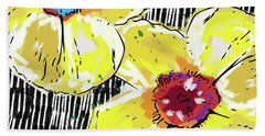 Beach Towel featuring the mixed media Bold Yellow Poppies- Art By Linda Woods by Linda Woods