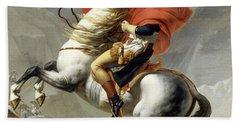 Bonaparte Crossing The Alps Beach Towel by Jacques Louis David