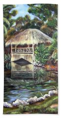 Beach Sheet featuring the painting Bonnet House Chickee by Patricia Piffath