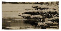 Bonsai Tree Near Pond In Sepia Beach Towel