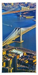 Booklyn And Manhattan Bridges Beach Towel
