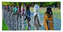 Beach Towel featuring the photograph Boots On The Fence by Linda Unger