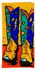 Boots On Yellow 24x30 Beach Towel
