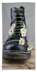 Boots With Daisy Flowers Beach Towel