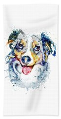 Beach Towel featuring the mixed media Border Collie  by Marian Voicu