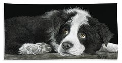 Border Collie Pup For Limited Items Beach Sheet