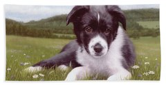 Border Collie Puppy Painting Beach Towel