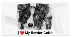 Border Collie Stare Beach Towel