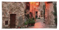 Beach Towel featuring the painting Borgo Medievale by Rosario Piazza