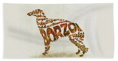 Beach Sheet featuring the painting Borzoi Dog Watercolor Painting / Typographic Art by Inspirowl Design