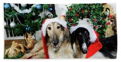 Borzoi Puppies Wishing A Merry Christmas Beach Towel