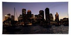 Boston At Night Beach Sheet