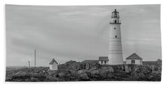 Boston And Graves Lighthouses In Monochrome Beach Towel