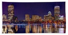 Boston Back Bay Skyline At Night 2017 Color Panorama 1 To 3 Ratio Beach Towel