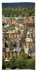 Boston Brownstone Architecture Beach Towel