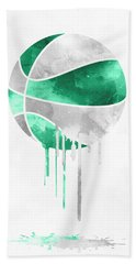 Boston Celtics Dripping Water Colors Pixel Art Beach Towel