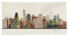 Boston City Skyline Beach Towel