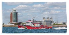 Boston Fire Rescue Boat Passing Logan Airport Beach Sheet