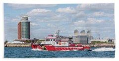 Boston Fire Rescue Boat Passing Logan Airport Beach Towel