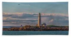 Boston Lighthouse Sunset Beach Sheet by Brian MacLean