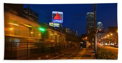 Boston Ma Green Line Train On The Move Beach Sheet