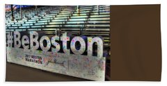 Beach Towel featuring the photograph Boston Marathon Sign by Joann Vitali