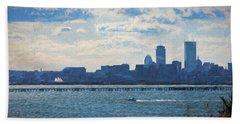 Boston Skyline From Deer Island Beach Towel