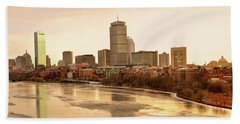Boston Skyline On A December Morning Beach Towel