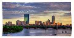Boston Skyline Sunset Over Back Bay Beach Sheet by Joann Vitali
